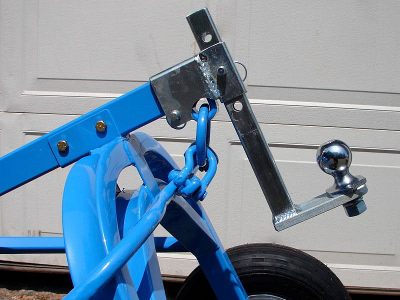 Closeup of LogRite trailer dolly adapter.